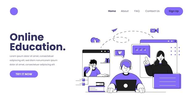 Modelo da web de aprendizagem on-line desenhado à mão