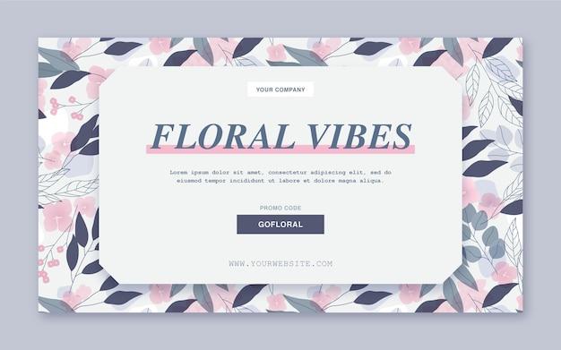 Modelo da web de banner com vibrações florais