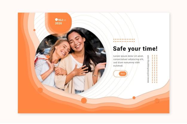 Modelo da web de banner de serviço de compras online