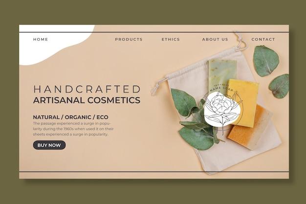 Modelo da web de cosméticos artesanais feitos à mão