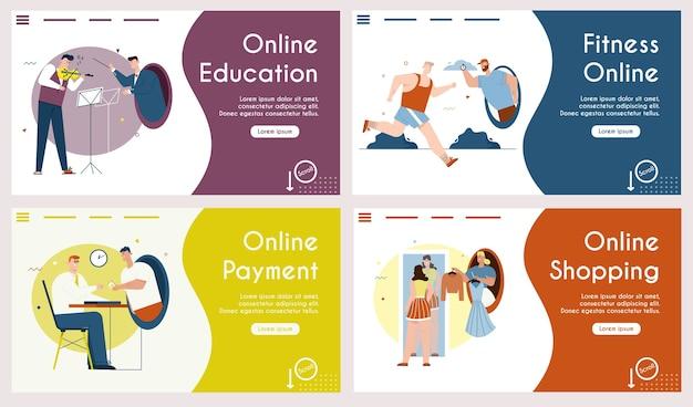 Modelo da web de educação online, fitness, pagamento, compras. violinista e maestro tocam música. atleta treina correndo com treinador