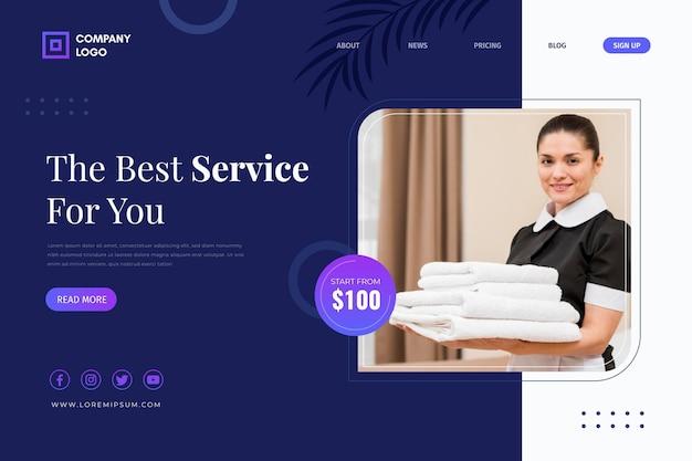 Modelo da web de hotel com foto