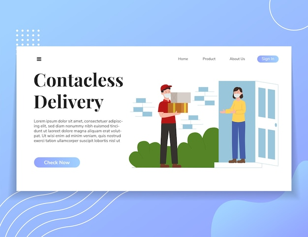 Modelo da web de ilustração de ui de entrega sem contato