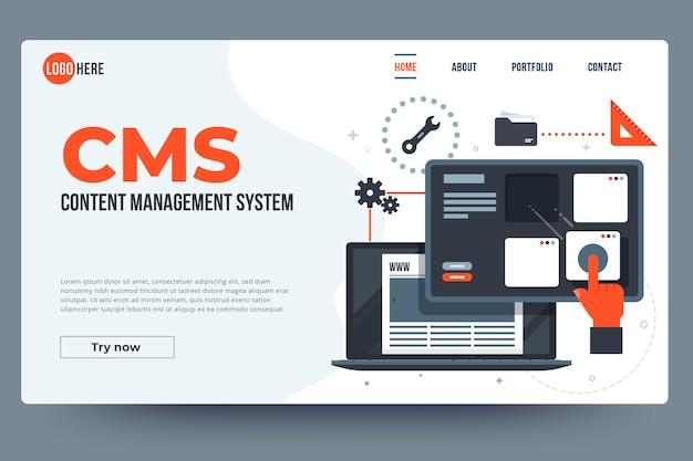 Modelo da web de sistema de gerenciamento de conteúdo simples
