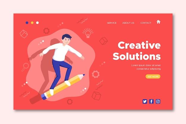 Modelo da web de soluções orgânicas de criativos planos