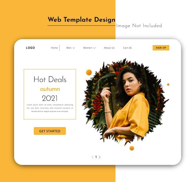 Modelo da web de tag de venda de moda ou página de destino com design de interface de usuário de pincel frondoso