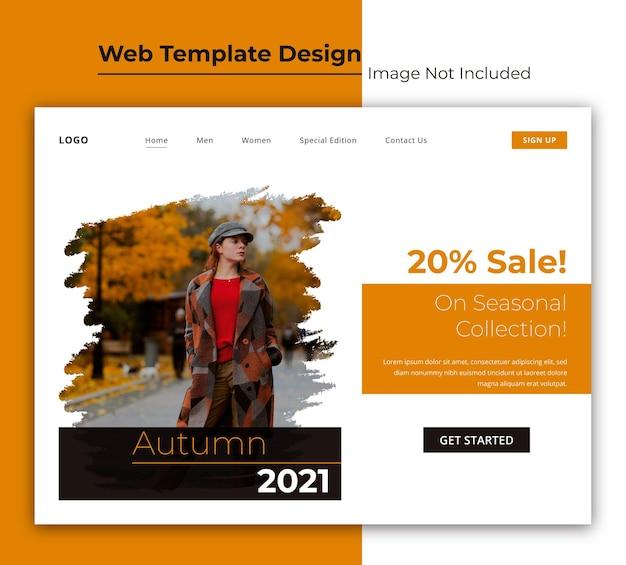 Modelo da web de tag de venda de moda ou página de destino com design de interface de usuário de pinceladas
