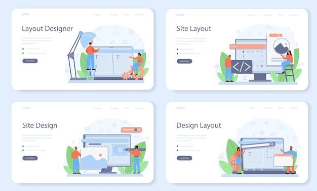 Modelo da web do designer de layout ou conjunto de páginas de destino.