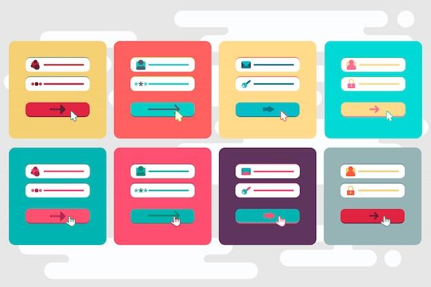 Modelo da web e elementos para o formulário do site de assinatura de e-mail, boletim informativo ou login para conta, enviar