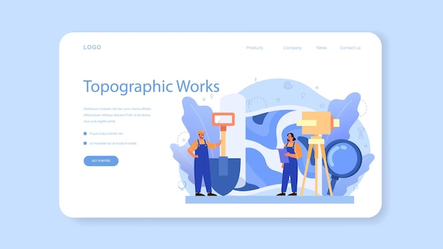 Modelo da web ou página inicial de geodésia. tecnologia de levantamento topográfico. equipamentos de engenharia e topografia. pessoas com bússola e mapa.