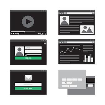 Modelo da web para formulários de site de assinatura de e-mail, login para conta, assistindo a vídeo