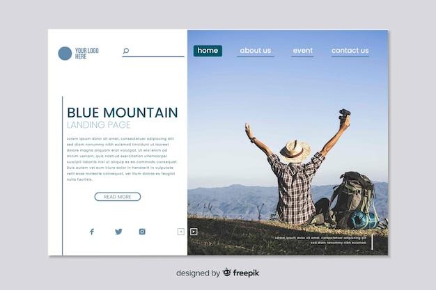 Modelo da web para página de destino de viagem com foto