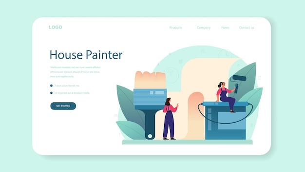 Modelo da web para papel de parede ou página inicial. trabalhador que cola papéis de parede na parede. trabalhador profissional na casa de conserto de uniforme. renovação de casa. ilustração vetorial isolada