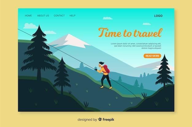 Modelo da web para viajar na página de destino