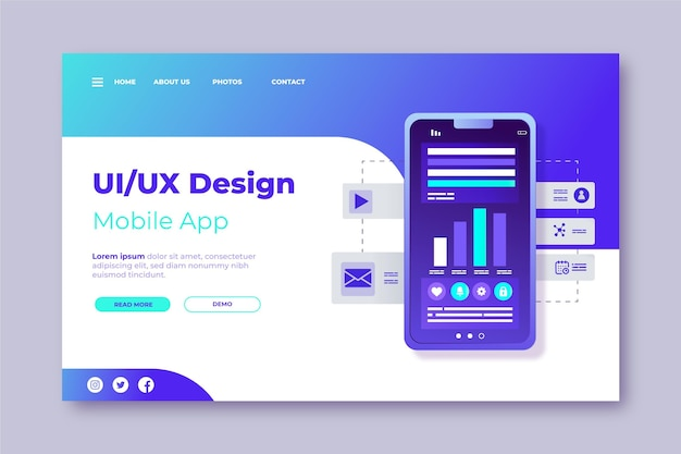 Modelo da web ui / ux gradiente