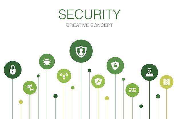Modelo de 10 etapas de infográfico de segurança. proteção, câmera de segurança, chave, ícones simples de bomba