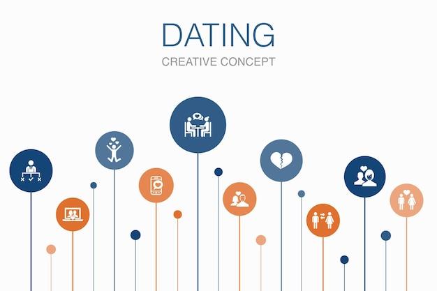 Modelo de 10 passos de infográfico de namoro. casal apaixonado, apaixonar-se, aplicativo de namoro, ícones simples de relações