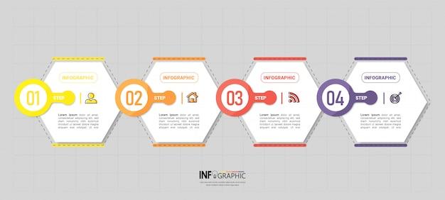 Modelo de 4 etapas infográfico criativo