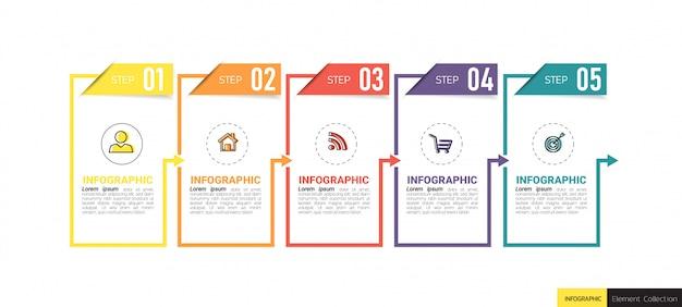 Modelo de 5 etapas infográfico criativo