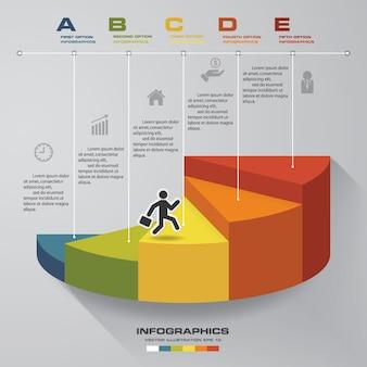 Modelo de 5 etapas para apresentação. homem andando em escadas infográficos.