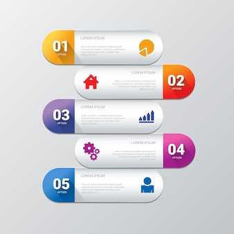 Modelo de 5 infográficos simples e elegante.