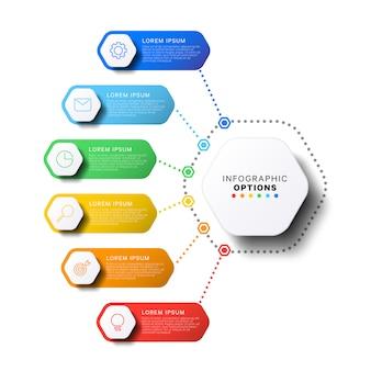 Modelo de 6 etapas infográfico com elementos hexagonais realistas em fundo branco. modelo de slide de apresentação da empresa.