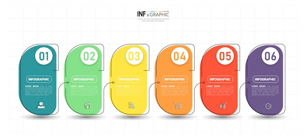 Modelo de 6 etapas infográfico criativo