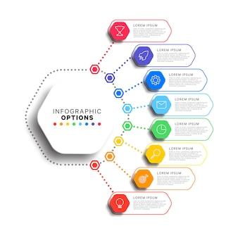 Modelo de 8 etapas infográfico com elementos hexagonais realistas em fundo branco