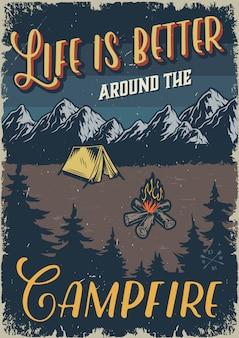 Modelo de acampamento ao ar livre vintage