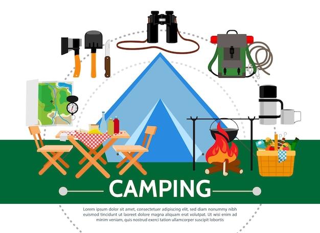 Modelo de acampamento plano