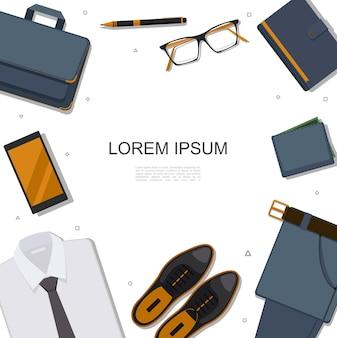 Modelo de acessórios de empresário plano com pasta de telefone óculos, caneta, bloco de notas, calça, carteira, sapatos, couro, camisa, ilustração,