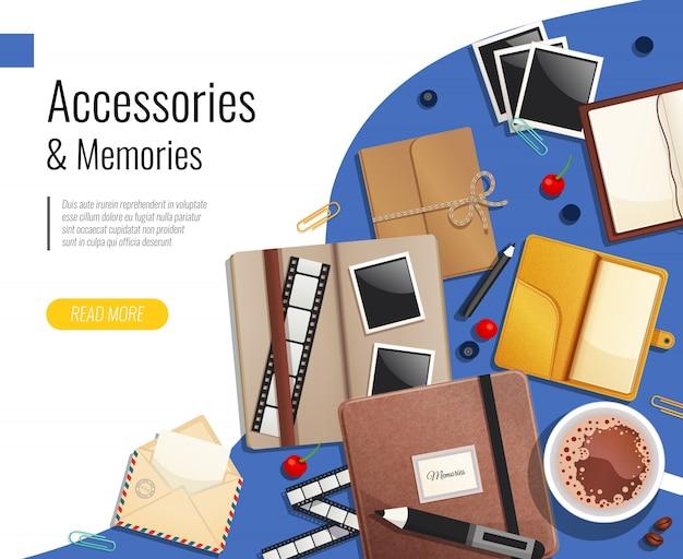 Modelo de acessórios e memórias