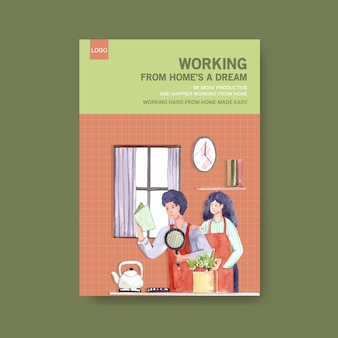 Modelo de aconselhamento informativo quando as pessoas estão trabalhando em casa e cozinhando. ilustração em vetor em aquarela conceito escritório em casa