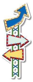 Modelo de adesivo com banner de placa de seta de direção em estilo parque de diversões isolado