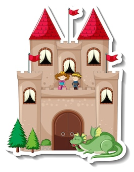 Modelo de adesivo com grande castelo em estilo cartoon isolado