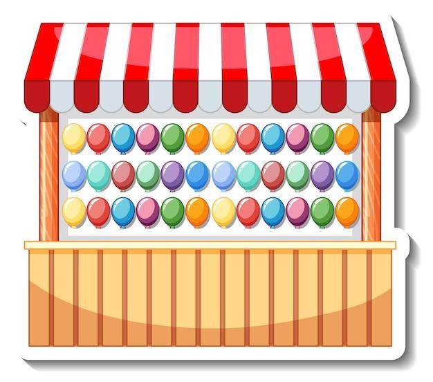 Modelo de adesivo com jogo de dardos pop de balão isolado