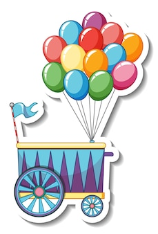 Modelo de adesivo com muitos balões no carrinho isolado