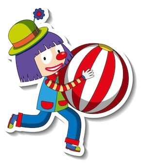 Modelo de adesivo com o personagem de desenho animado de palhaço feliz isolado