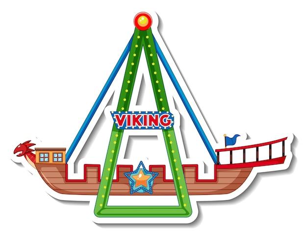 Modelo de adesivo com passeios de vikings na feira de diversões isolados