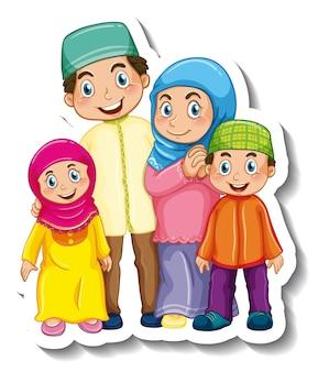 Modelo de adesivo com personagem de desenho animado de família muçulmana