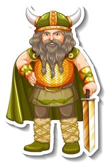 Modelo de adesivo com personagem de desenho animado de guerreiro viking isolado Vetor grátis