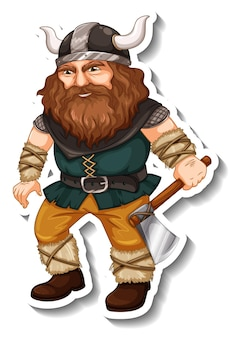 Modelo de adesivo com personagem de desenho animado de guerreiro viking isolado