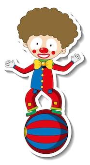 Modelo de adesivo com personagem de desenho animado de palhaço feliz isolado