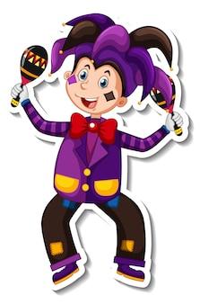 Modelo de adesivo com personagem de desenho animado de palhaço feliz