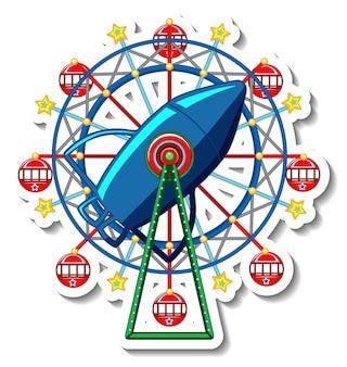 Modelo de adesivo com roda gigante de circo isolada