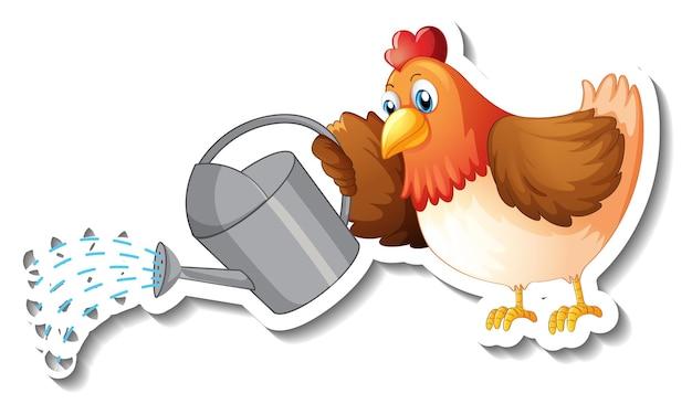 Modelo de adesivo com um frango segurando um regador personagem de desenho animado isolado