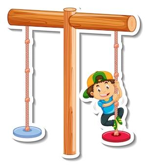 Modelo de adesivo com um menino brincando de swing bar isolado