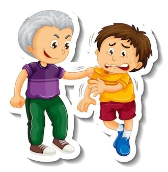 Modelo de adesivo com um menino é ferido por intimidar personagem de desenho animado isolado