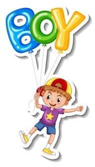 Modelo de adesivo com um menino segurando muitos balões isolados
