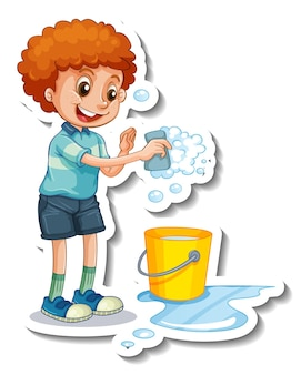 Modelo de adesivo com um menino segurando uma esponja para limpar isolado